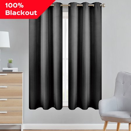 Style Basics 63 Inch Long Blackout Curtains For Bedroom 100% Total Light Blocking Thermal Insulated Lined Grommet (Polar Gray, 37