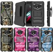 Motorola Moto E4 XT1768 US Version Case [Camo Case][Camouflage Phone Case Series] w/ Built-In Kickstand + Bonus Holster - Plain Black /No Design