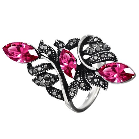 Neoglory Jewelry Silver Plated Rose Cz  Mysterious Lady  Charming Vintage Ring