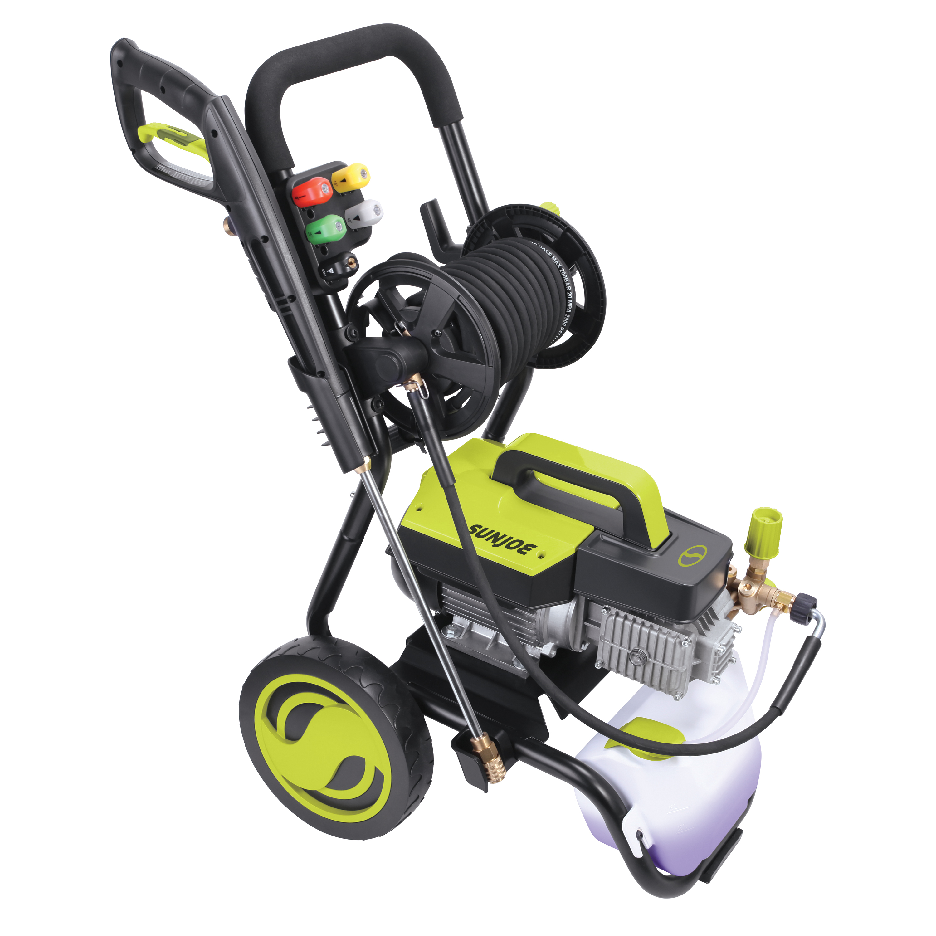 Sun Joe SPX9006-PRO Commercial Series Cold Water Electric Direct Drive Crank Shaft Pressure Washer | 1300 PSI Max | 2 GPM Max | 2.15 HP Motor | 120 Volt | Wall Mount | Roll Cage | Hose Reel