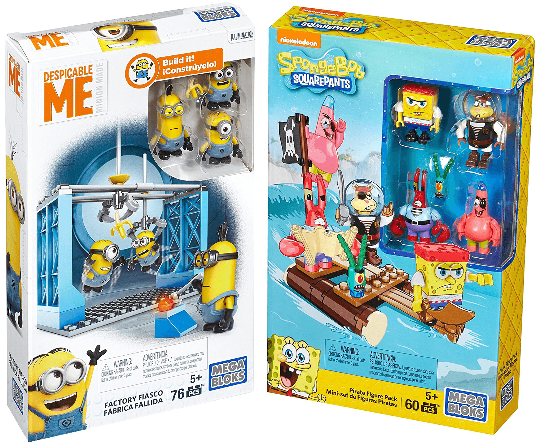 Mega Bloks Figure Despicable Me Minions Factory Fiasco + Spongebob Squarepants Pirate Pack... by
