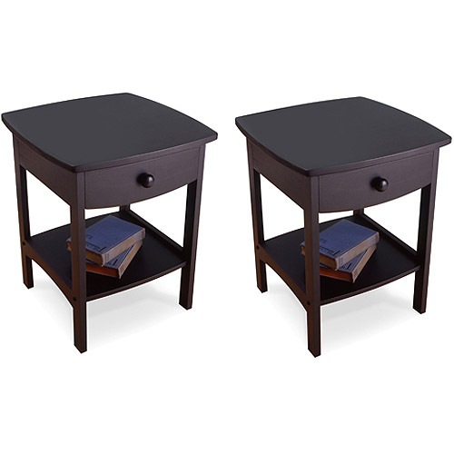 Curved Nightstand / End Table, Set of 2, Multiple Colors