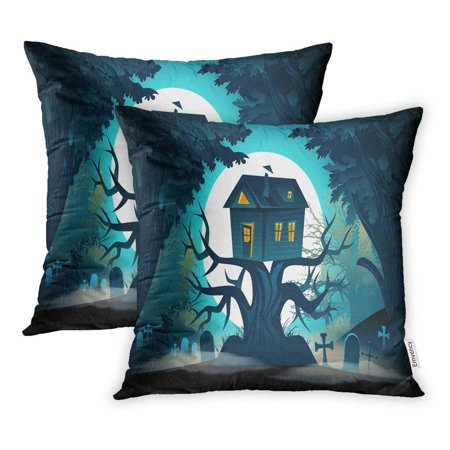 Halloween Horror Nights 4 Map (USART Blue Forest Halloween Landscape Haunted Horror House on Tree Castle Night Pillowcase Cushion Cover 18x18 inch, Set of)