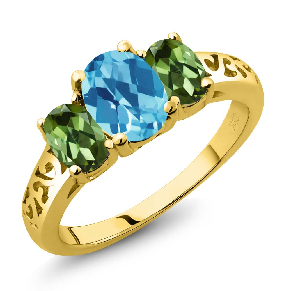 2.30 Ct Oval Checkerboard Swiss Blue Topaz Green Tourmaline 18K Yellow Gold 3-Stone Ring by