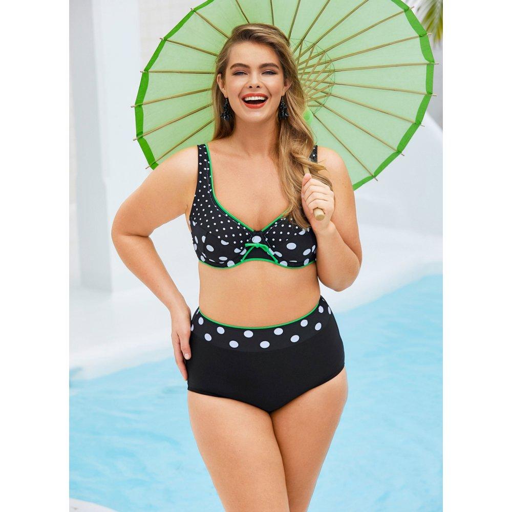 Ulla Popken Women's Plus Size Retro Look Polka Dot Print ...
