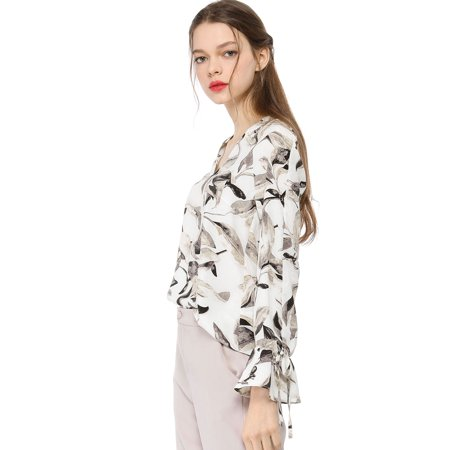 Unique Bargains Women's Bell Long Sleeves Leaves Blouse Tops Off White XL - image 4 of 6