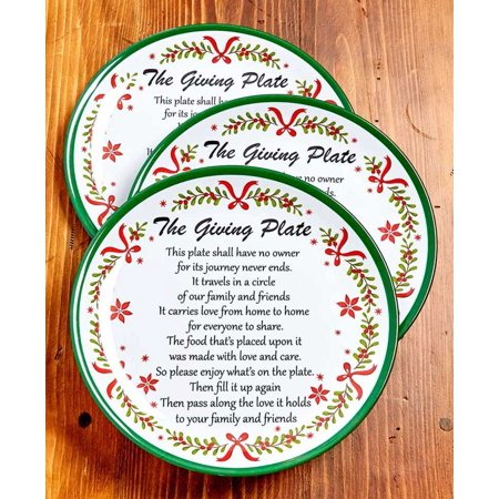 Set of 3 Melamine Christmas Garland Giving Plates, This plate shall have no owner for its journey never ends. It travels in a circle of our family and friends. It carries.., By The Lakeside Collection