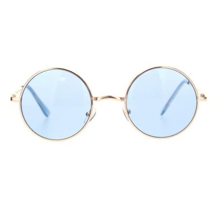 Light Blue Gold Rim (Mens Hippie Color Round Circle Lens Hipster Metal Rim Sunglasses Gold Blue )