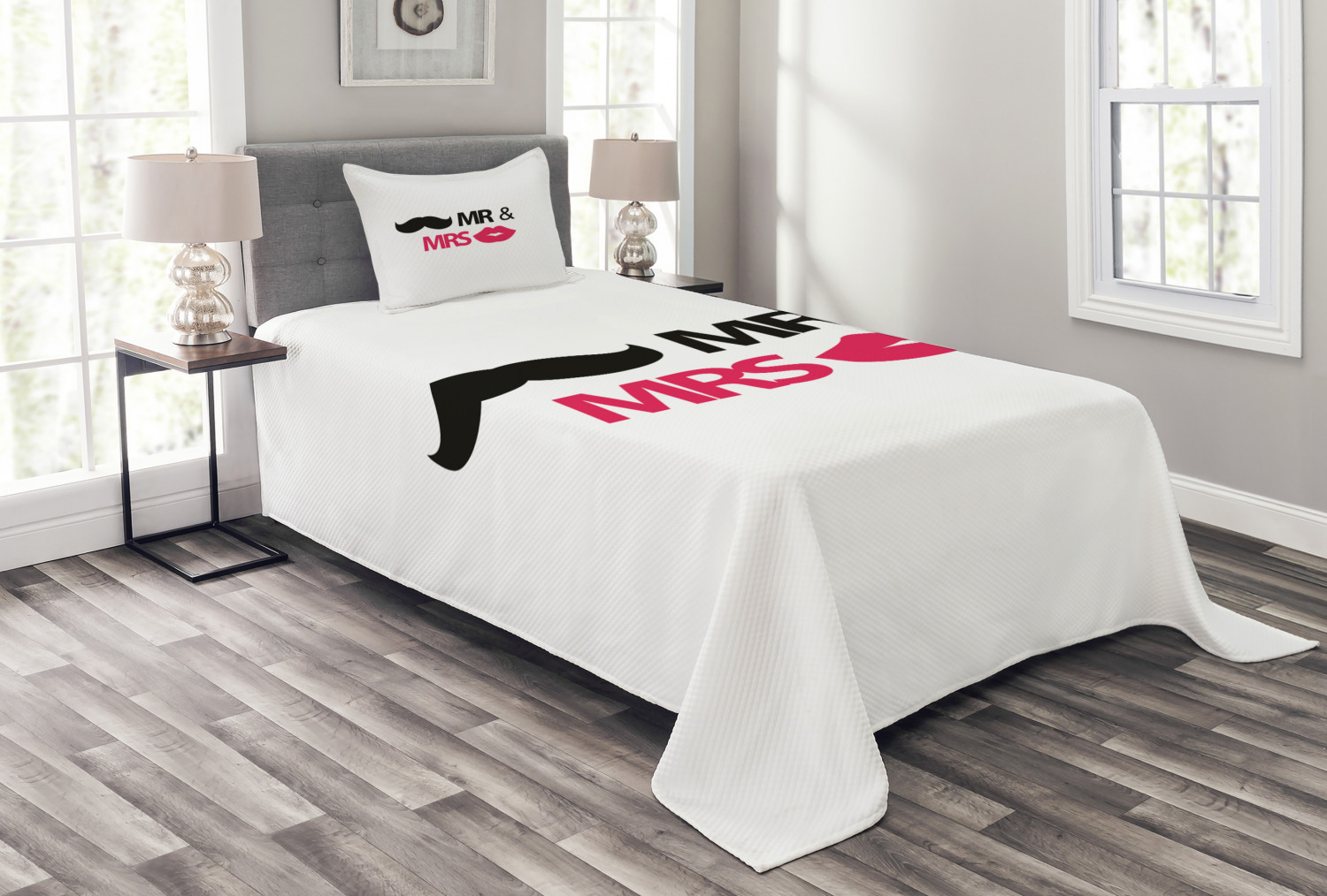 Wedding Bedspread Set Funny Stencil Art Lips Moustache Mr And Mrs Retro Stylized Design Art Print Decorative Quilted Coverlet Set With Pillow Shams Included Black Pink White By Ambesonne Walmart Com