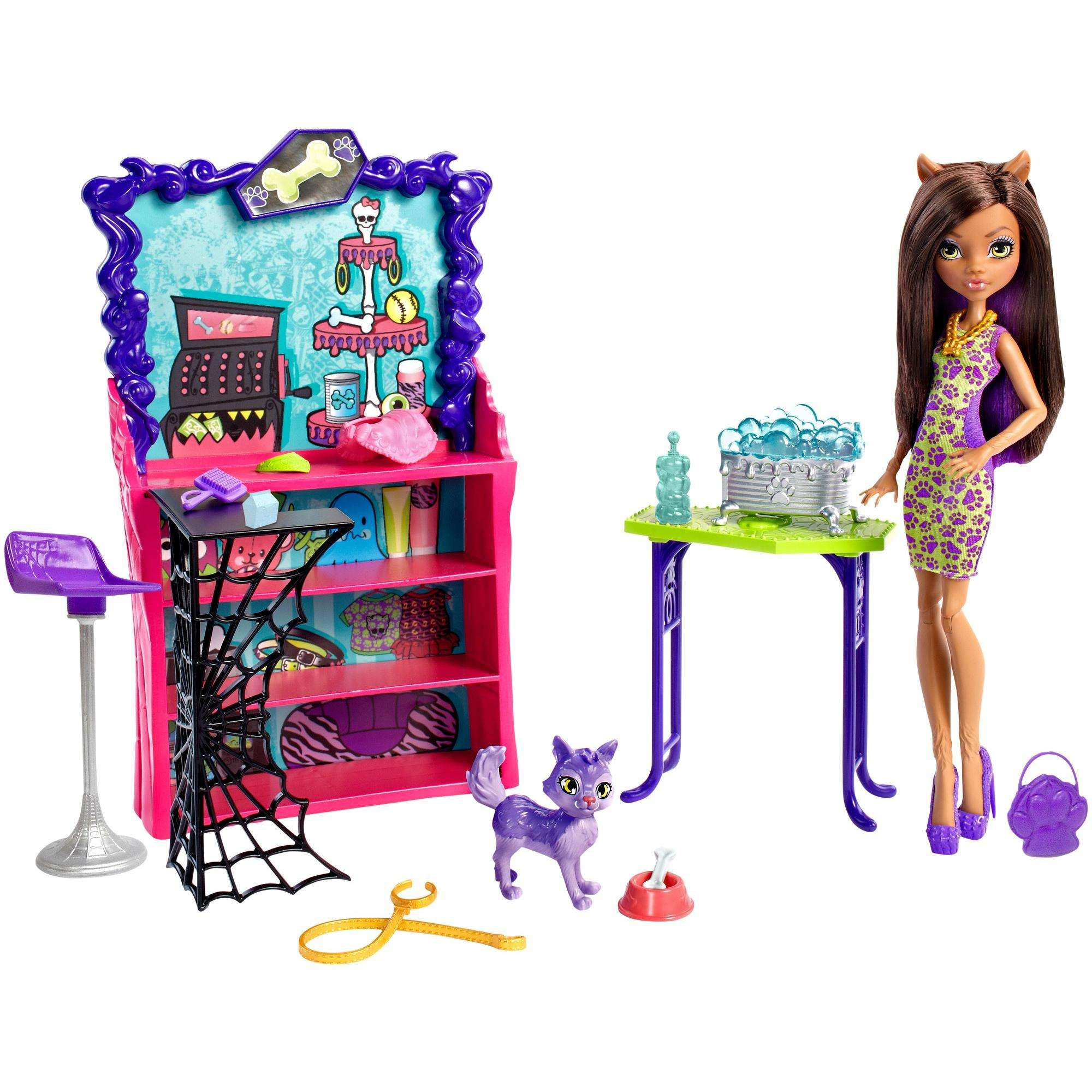Monster High Clawesome Pet Salon Playset with Clawdeen Wolf Doll