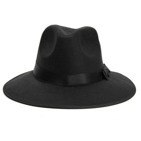 Vintage Wide Brim Wool Felt Floppy Fedora Jazz Hat Bowler Trilby Cap for Men Women Christmas Gift - image 3 of 7