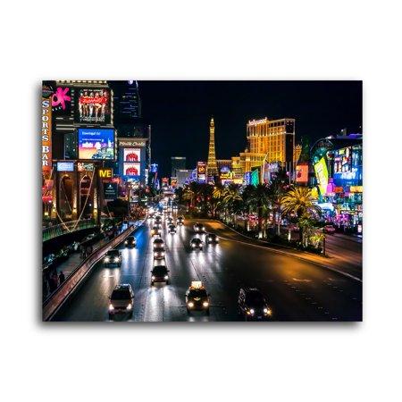 Pingo World City Skylines  Streets Of Las Vegas  Brushed Aluminum Wall Art