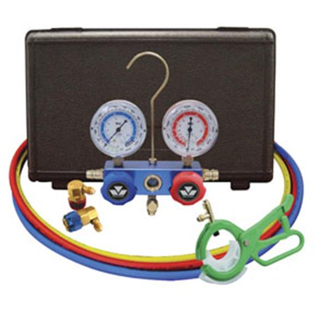 Mastercool 89660-PRO5 Professional R134A Manifold Gauge Set With Free 3-In-1Side Mount Can Tap -