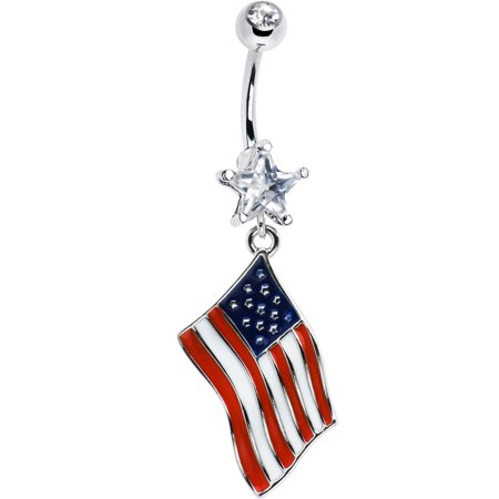 Body Candy Stainless Steel Chant Usa  All Day Flag Dangle Belly Ring
