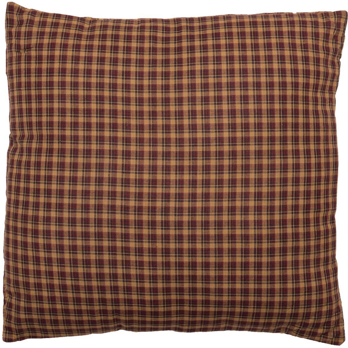 Deep Red Primitive Bedding Antique Patch Cotton Plaid Square Pillow (Pillow Cover, Pillow Insert)