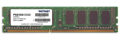 Patriot Memory Signature Ddr3 8gb Cl9 Pc3-10600 [1333mhz] Dimm - 8 Gb - Ddr3 Sdram - 1333 Mhz Ddr3-1333/pc3-10600 - Non-ecc - Unbuffered - 240-pin - Dimm (psd38g13332)
