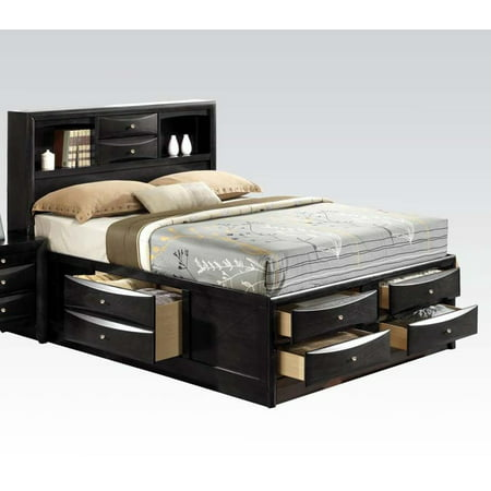 e141d650c31c ACME Ireland Eastern King Bed with Storage in Black, Multiple Sizes -  Walmart.com