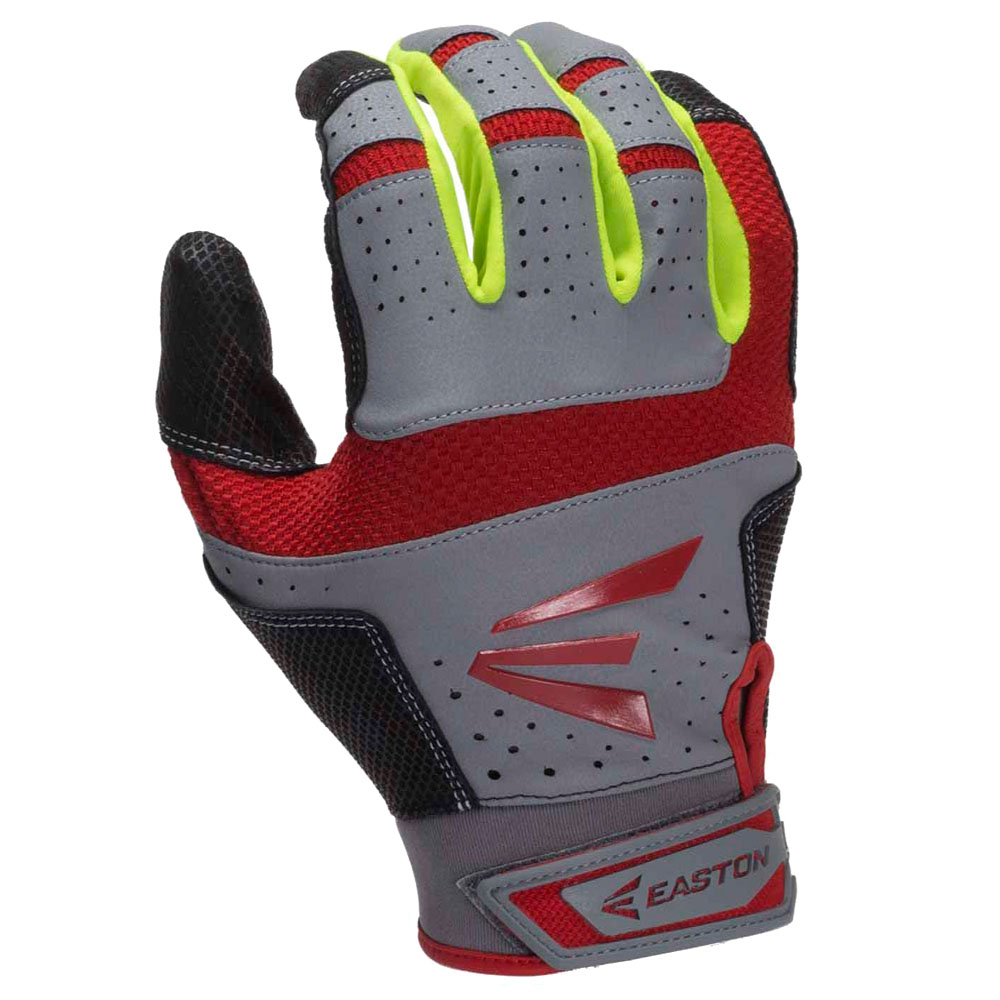 Easton HS9 Neon Batting Gloves - Grey/Red Small