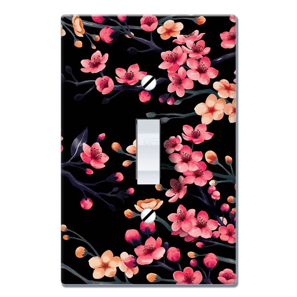 Wirester 1 Gang Toggle Light Switch Wall Plate Switch Plate Cover Spring Flowers Cherry Blossom On Black Bg Walmart Com Walmart Com