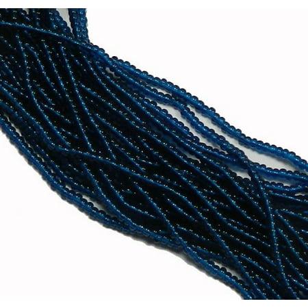 Montana Blue Czech 8/0 Glass Seed, Loose Beads, 12 Strand Hank - Czech Glass Beads Wholesale