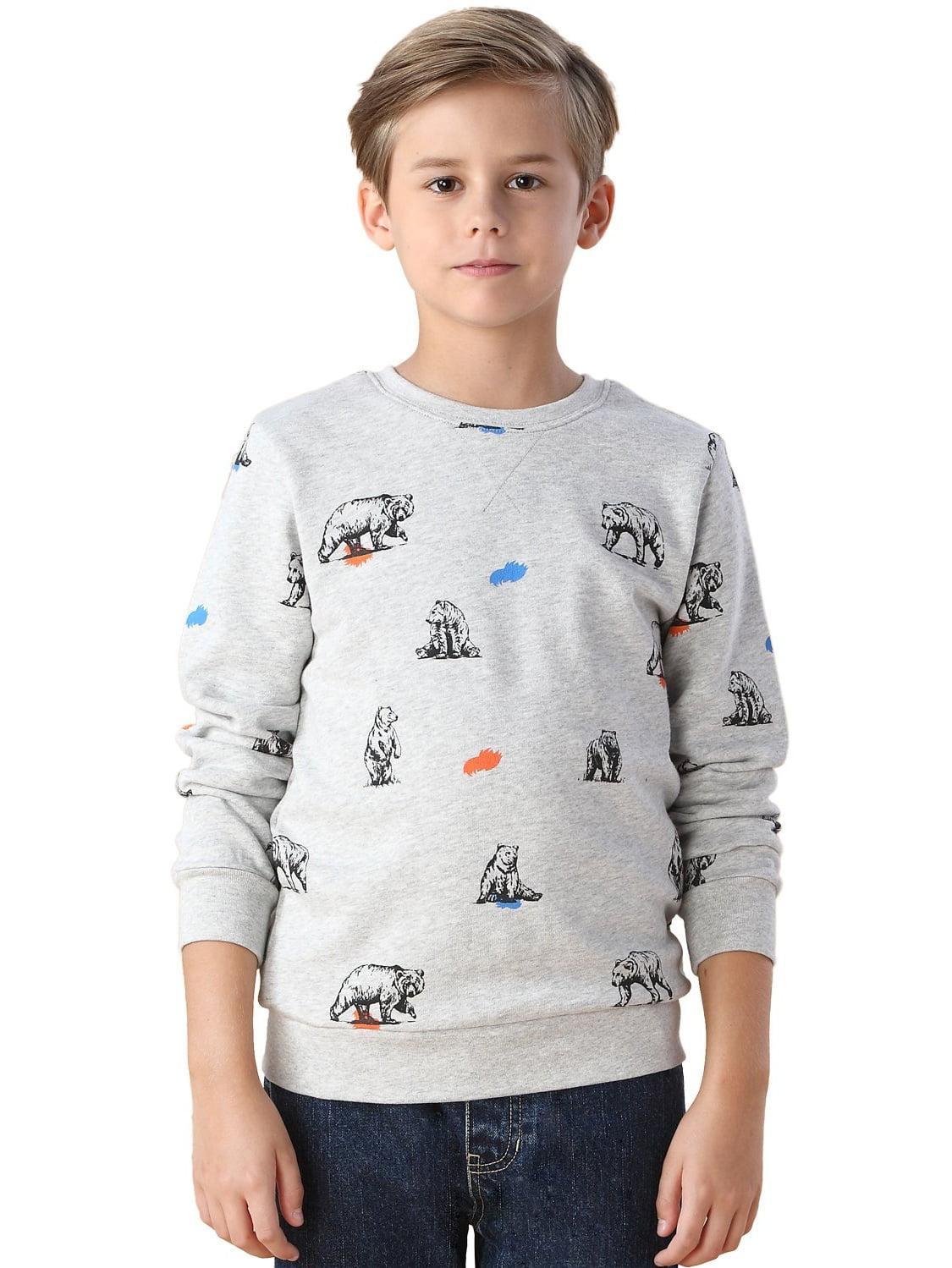 Leo&Lily Boys' Polar Bear Print Fleece Sweatshirts T-Shirt