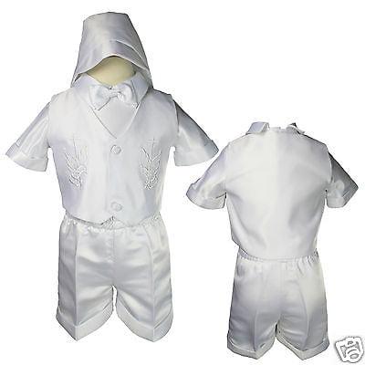 INFANT TODDLR & BOY  BAPTISM CHURCH VEST SHORTS SUIT WHITE  XS S,M,L,XL 2T- 4T