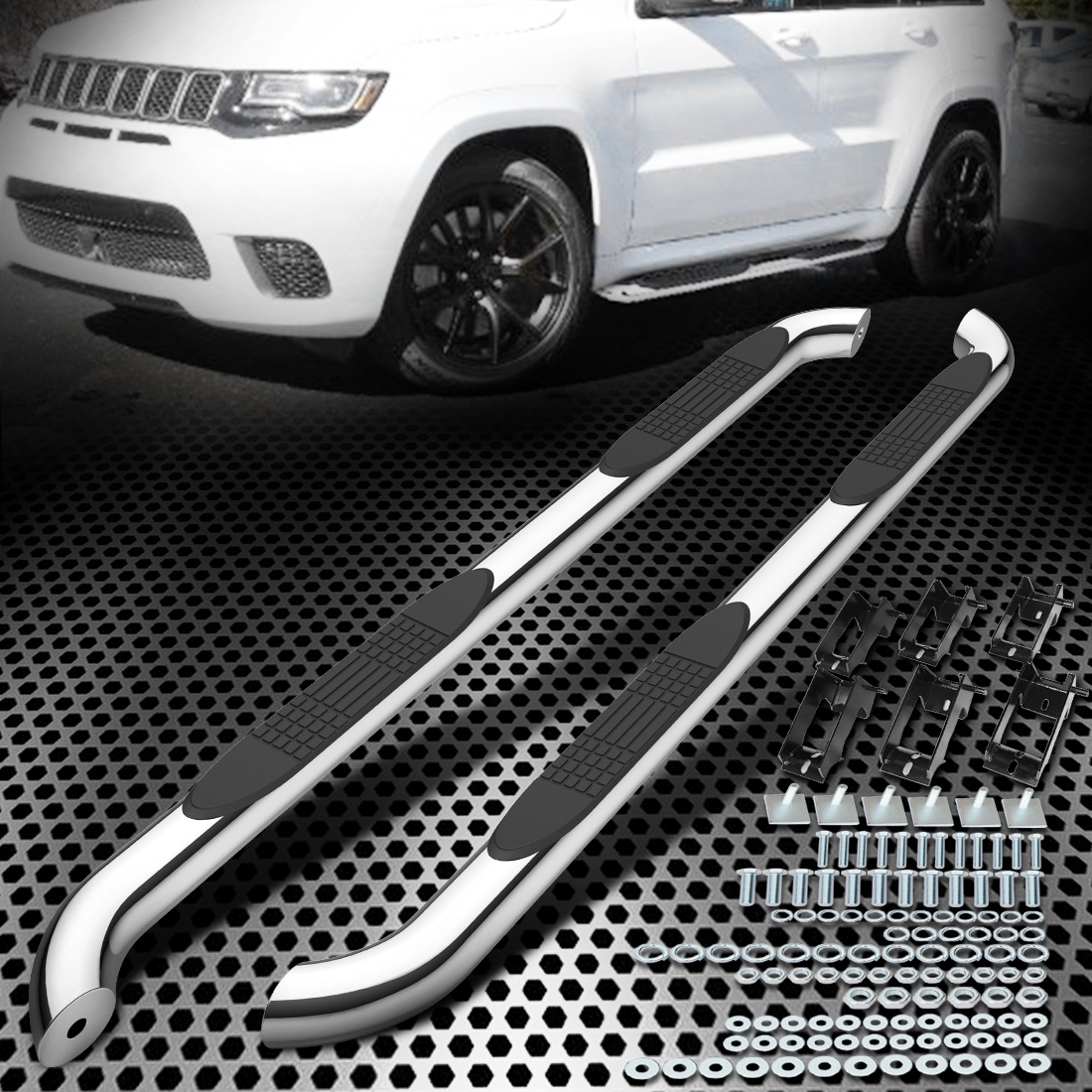Running Board Side Step Nerf Bars 5in Silver Fit Jeep Grand Cherokee 11-19