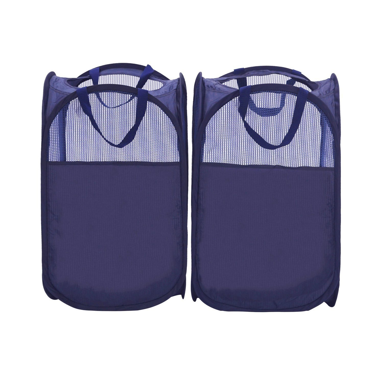 StorageManiac Pop-Up Mesh Hamper, Foldable Laundry Hamper with Reinforced Carry Handles, Pack of 2