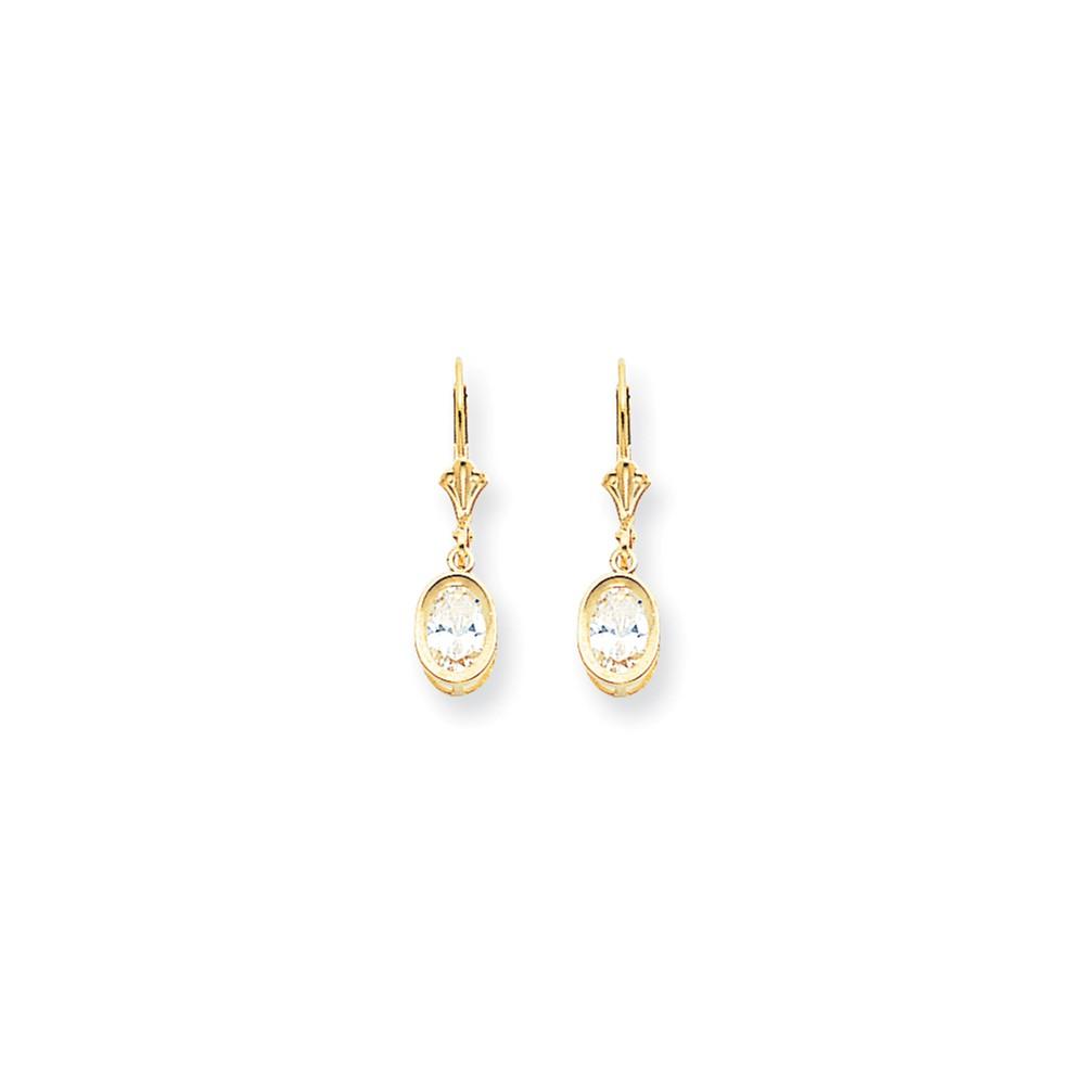 14k Yellow Gold 1.0IN Long 7x5mm Oval Cubic Zirconia leverback Earrings