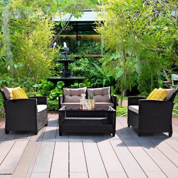 Outdoor Rattan Conversation Set 4 Pieces Patio wicker Chairs