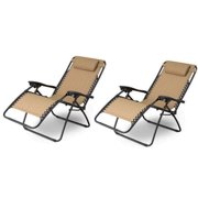 Zimtown 2PCS Outdoor Zero Gravity Folding Lounge Chair for Beach Patio Pool Yard Khaki