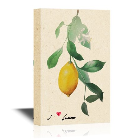 wall26 Canvas Wall Art - Vintage Style Painting with Lemon Fruit and Leaves - Gallery Wrap Modern Home Decor | Ready to Hang - 12x18 inches