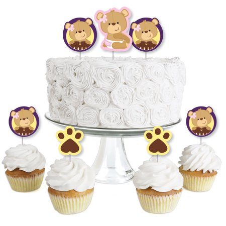 Baby Girl Teddy Bear - Dessert Cupcake Toppers - Baby Shower Clear Treat Picks - Set of 24](Easy Baby Shower Desserts)