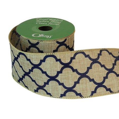 Offray Ribbon with Linen Quatrefoil, Navy (Navy Ribbon)