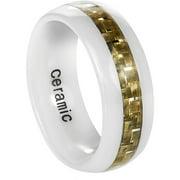 Men's Ceramic Olive Carbon Fiber Inlay Ring