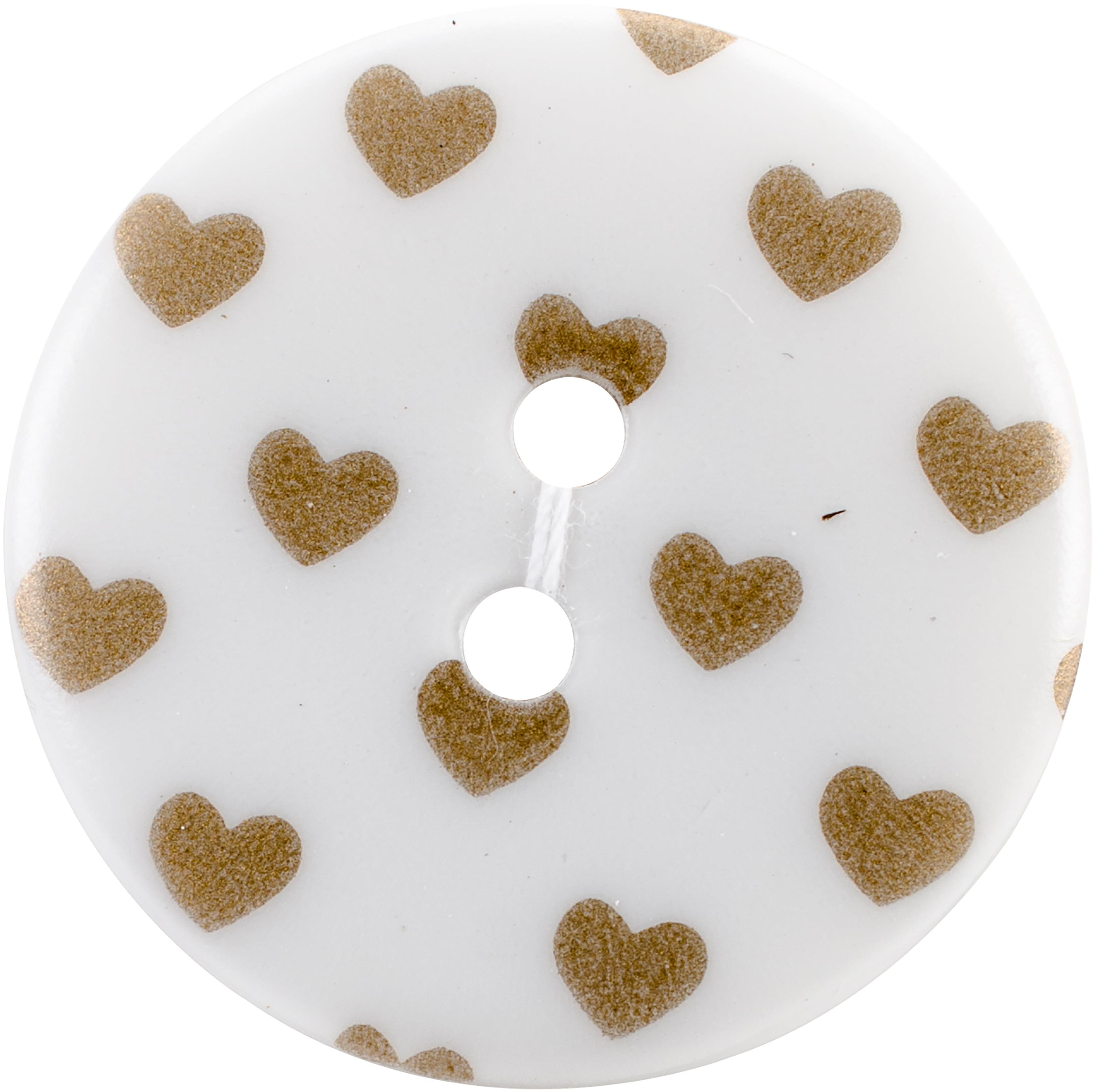 "Sweet Shimmer Buttons 1"" 2/Pkg-Gold Hearts"