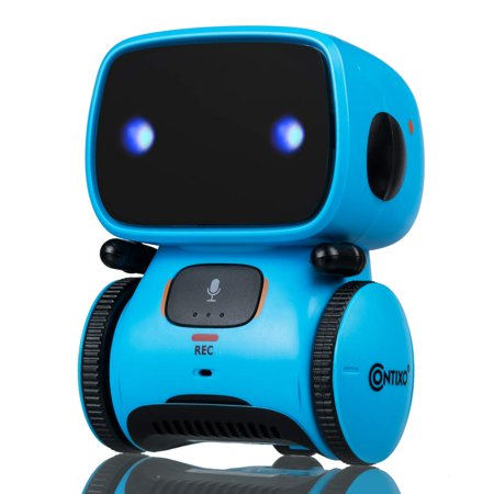 Contixo R1 Kids Robot Toy Boys Girls | Talking Interactive Voice Controlled Touch Sensor Dancing Singing Voice Recorder Funny Humor Speech Recognition Infant Toddler Children Robotics (Blue) (Robots For 4 Year Olds)