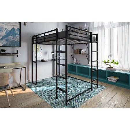 Dhp Abode Full Metal Loft Bed Over Workstation Desk Multiple Colors