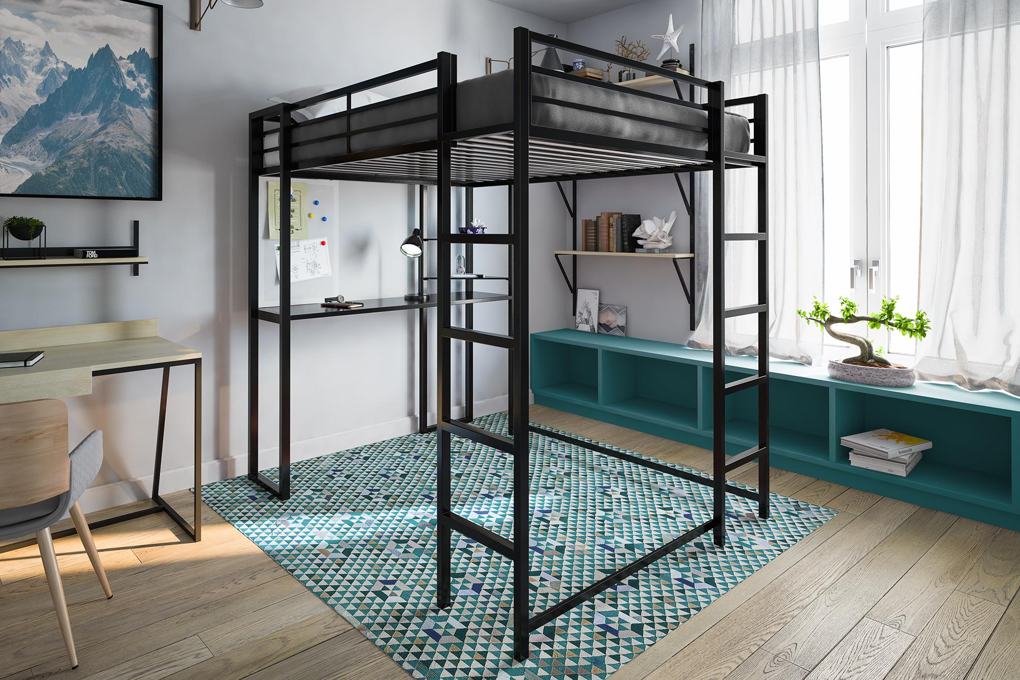 Delicieux DHP Abode Full Metal Loft Bed Over Workstation Desk, Multiple Colors    Walmart.com