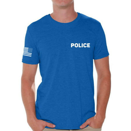 Awkward Styles Police Tshirt for Men Police Shirt with Usa Flag Sleeve Military Police Shirts Police Officer Gifts Police Men's Shirt American Flag Sleeve Police Shirt Police Gifts for Him Cop (First Black Police Officer In The United States)