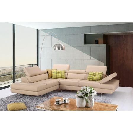 J&M A761 Peanut Full Top Grain Leather Italian Sectional Sofa Modern ...