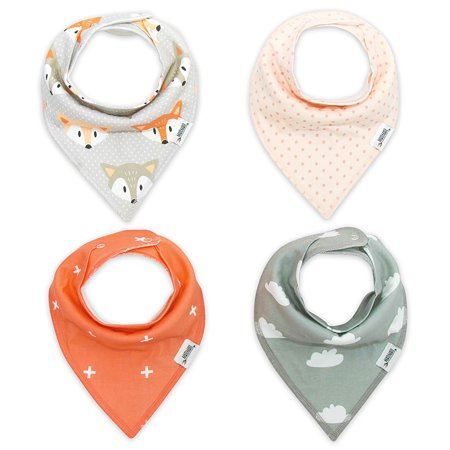 4pc All Gender Toddler Infant Baby Waterproof Bibs with Snap Bandanas ()