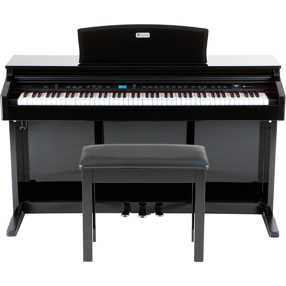 Williams Overture 2 88-Key Console Digital Piano & WPB Piano Bench Kit Black