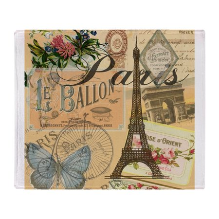 "CafePress - Paris France Vintage Europe Travel - Soft Fleece Throw Blanket, 50""x60"" Stadium Blanket"