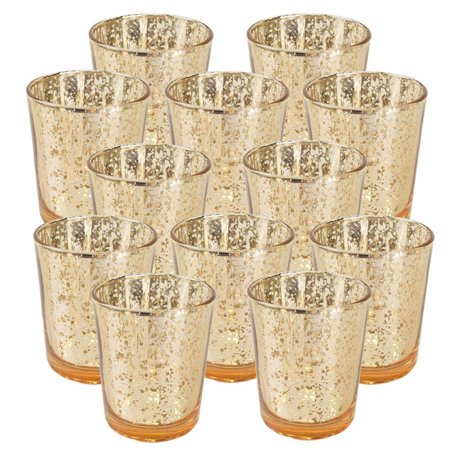 "Just Artifacts Mercury Glass Votive Candle Holder 4""H (Set of 12) Speckled Gold- Mercury Glass Votive Tealight Candle Holders for Weddings, Parties and Home Decor"