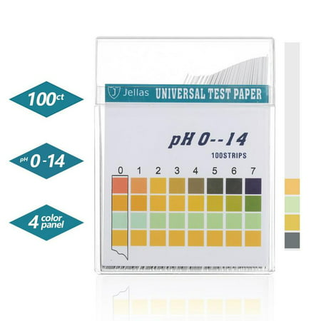 Jellas Universal pH Test Strips, Test Body Acid Alkaline pH Level or Water Quality, High Accuracy and Quick Readout, Full pH Range of 0-14. (100