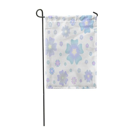 SIDONKU Pastel Colored Large Scale Blue Flowers and Small Pink Ones Shabby Chic Dusty Garden Flag Decorative Flag House Banner 12x18 inch