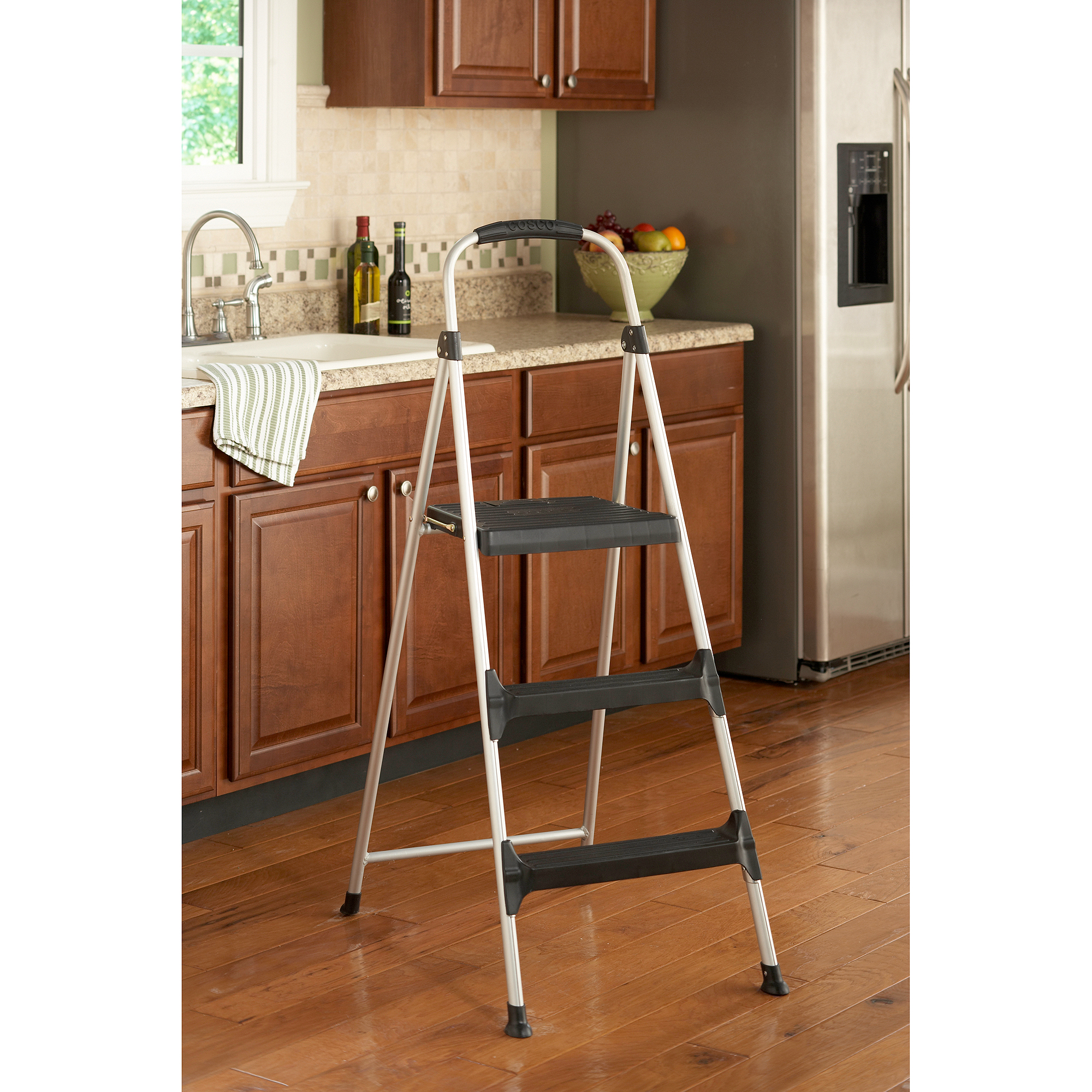 Cosco Signature 3 Step Aluminum Step Stool With Plastic