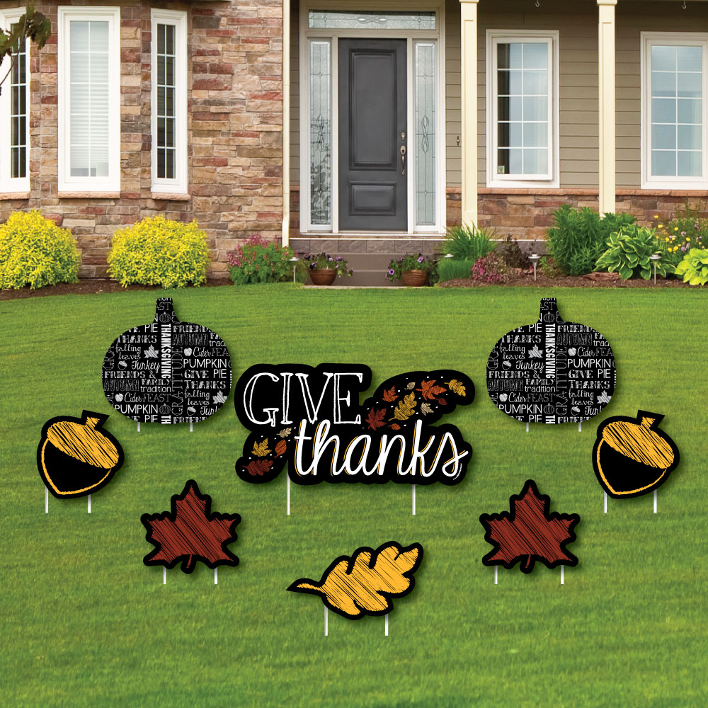 Give Thanks - Yard Sign & Outdoor Lawn Decorations - Thanksgiving Yard Signs - Set of 8