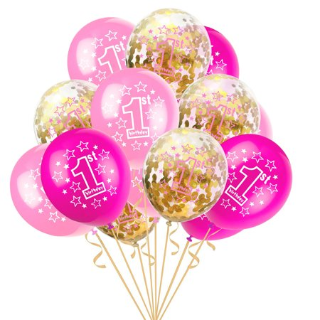 "15pcs 12"" Foil Latex Confetti Balloon Baby One Year Old Happy Birthday Party - 11 Year Old Birthday Party Ideas"
